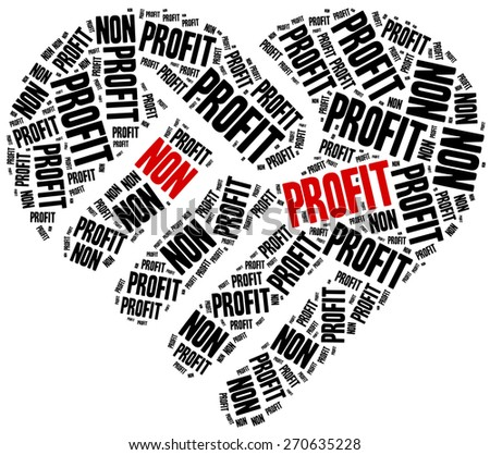 Non profit organization or business. Word cloud illustration.