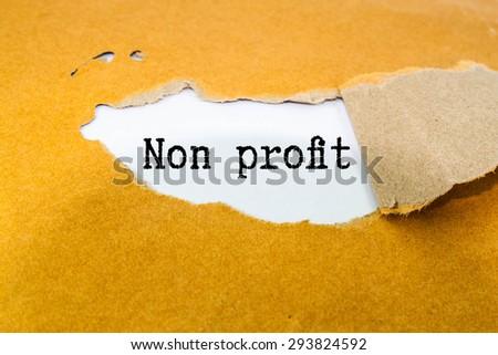 non profit text write on brown envelope