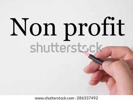 non profit text write on wall