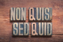 Non quis, sed quid ancient Latin saying meaning - not who but what, combined on vintage varnished wooden surface