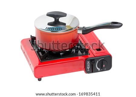 Non-Stick Pot on Portable Gas Stove Isolated on White.