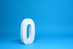None or Zero ( 0 ) white number wooden  Isolated Blue Background with Copy Space - New promotion 0% Percentage  Business finance Concept
