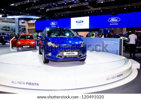 NONTHABURI - NOVEMBER 28: The Ford Fiesta car on display at The 29th Thailand International Motor Expo on November 28, 2012 in Nonthaburi, Thailand.