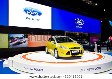 NONTHABURI - NOVEMBER 28: The Ford Focus car on display at The 29th Thailand International Motor Expo on November 28, 2012 in Nonthaburi, Thailand.