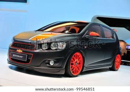 NONTHABURI, THAILAND - APRIL 07: The Chevrolet Sonic in the 33rd Bangkok International Motor Show on April 07, 2012 in Nonthaburi, Thailand.