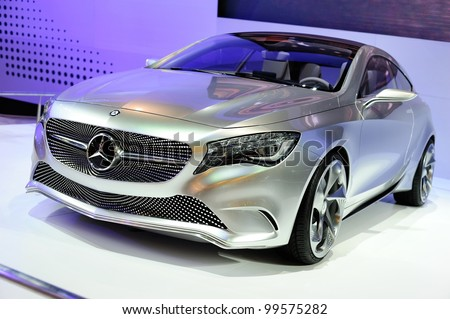 NONTHABURI, THAILAND - APRIL 07: The Mercedes-Benz Concept A-class on display in the 33rd Bangkok International Motor Show on April 07, 2012 in Nonthaburi, Thailand.