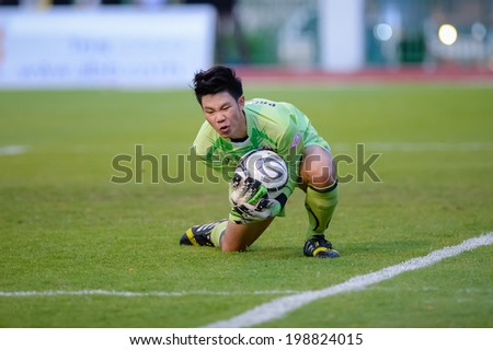 Nonthaburi THAILAND-Jun11:Goalkeeper of bbcu in action during the Toyota League Cup Big Bang Chula Utd and Muangthong Utd.at Nonthaburi Municipality Stadium on June 11,2014,Thailand