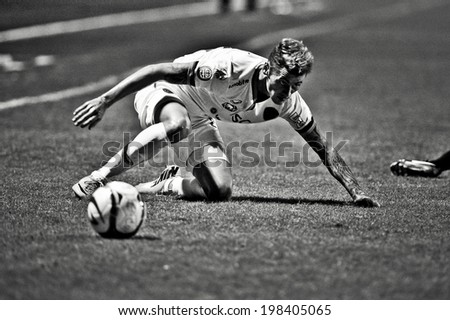 NONTHABURI THAILAND-Jun11:Milan Bubalo of SCG MTUTD in action during Toyota League Cup Big Bang Chula Utd and SCG Muangthong Utd.at Nonthaburi Municipality Stadium on June 11, 2014,Thailand