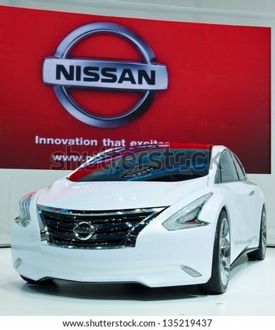 NONTHABURI, THAILAND - MARCH 26 : Nissan Ellure Concept Car showed in 34th Bangkok International Motor Show on March 26, 2013 in Nonthaburi, Thailand.
