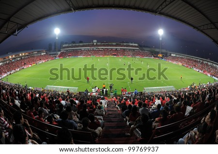 NONTHABURI THAILAND-March17:Unidentified supporters during  the match Thai Premier League between SCG MuangThong utd.and BEC Tero on March17,2012 in SCG Stadium Thailand