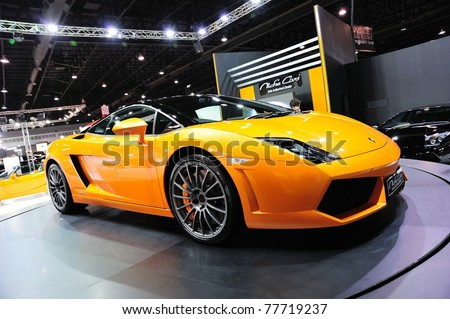 NONTHABURI, THAILAND - MAY 21: Lamborghini Gallardo Bicolore at Supercar & Import car Show on May 21, 2011 in Nonthaburi, Thailand.