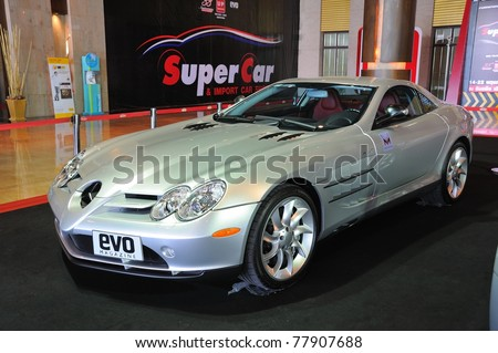 NONTHABURI, THAILAND - MAY 21: The Mercedes Benz SLR McLaren in Supercar & Import car Show on May 21, 2011 in Nonthaburi, Thailand.