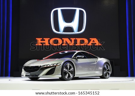 NONTHABURI, THAILAND - NOVEMBER 29:The Honda NSX concept supercar is on display at the 30th Thailand International Motor Expo 2013 on November 29, 2013 in Nonthaburi, Thailand.