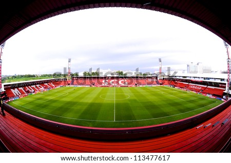 NONTHABURI THAILAND-SEPTEMBER9 :View of  SCG Stadium before match during  Thai Premier League between SCG Muangthong utd.and Wuachon utd.at SCG Stadium on Sep9,2012 in Nonthaburi,Thailand  - stock photo