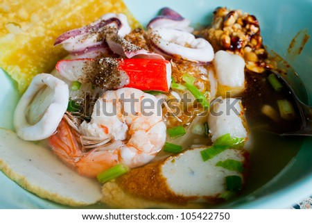 Noodle soup seafood in a bowl Thai food