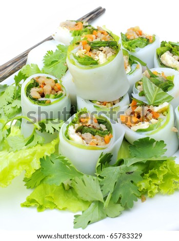 NOODLE Thai apply style vegetables roll. Snacks are beneficial to the body and health. The review of all ages as food in Asia. Stuffed pork, chicken and put meat and vegetables.