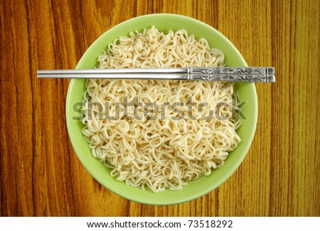 Noodles in bowl and chopsticks on wood background