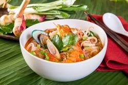 Noodles  seefood Tom yum, Thai Food