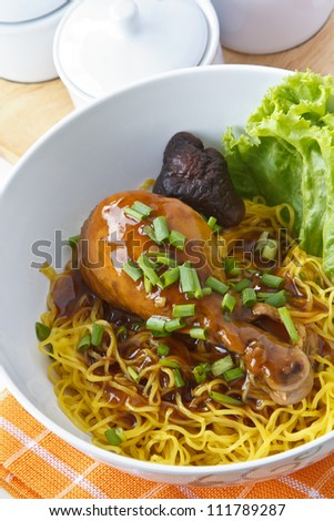Noodles with chicken, Poppular food in china and thailand