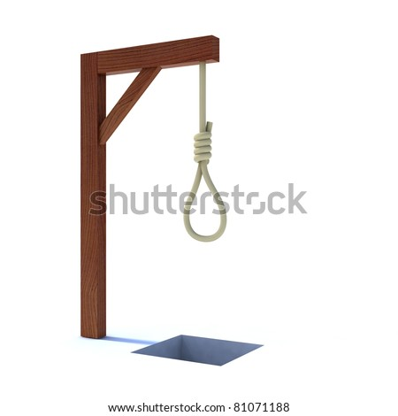 noose hanging from a gallows 3d illustration