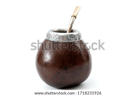 Nootropic stimulant, alternative medicine and holistic cleanse concept with gourd and bombilla (metallic drinking straw) for yerba mate tea isolated on white background with clipping path cutout Foto stock ©