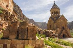Noravank Armenian Church and Cross stone. Ancient Church