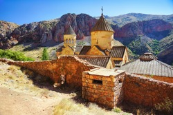 Noravank, Old Armenian cristian monastery dates from the 13th century, among the cliffs and mountains. Famous sacred and religious site. Areni region, Armenia