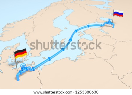 Nord stream 2 (industry concept). Blue main gasline from Russia to Germany over the Baltic Sea. Natural gas pipe line with gas valves on the Europe map with flags of supplier and importer.3d rendering