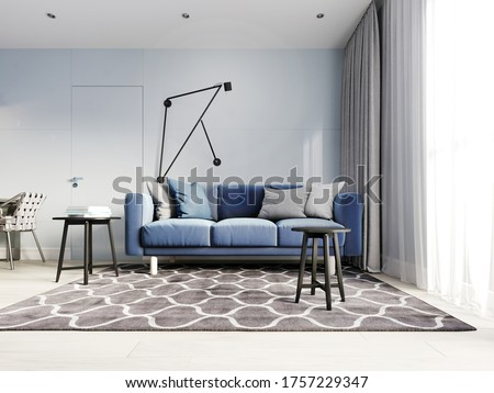 Nordic design living room with a modern blue sofa and black side tables with decor. Scandinavian contemporary style. Design hinged wall lamp. 3D rendering. Foto d'archivio ©