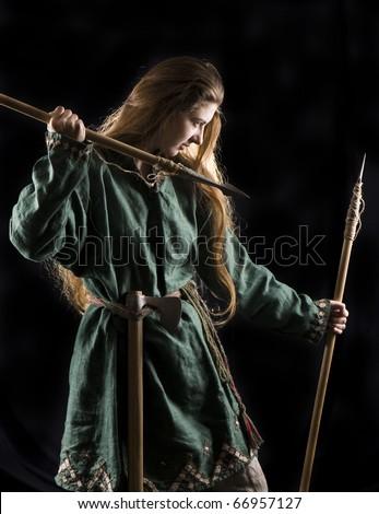 Stock Photo Nordic Girl Warrior