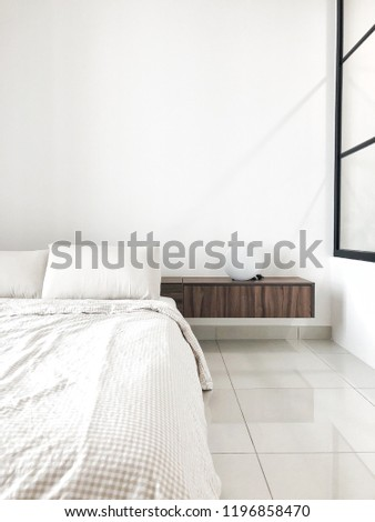 Nordic minimalist bedroom #1196858470
