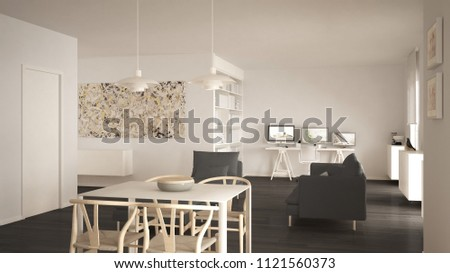 Nordic minimalist living room open space with dining table, sofa, corner office, home workplace with computers, contemporary modern white and gray interior design, 3d illustration #1121560373