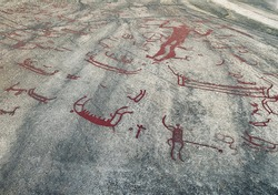 Nordic mythology and history. Runic script on stone. Tanum Sweden.