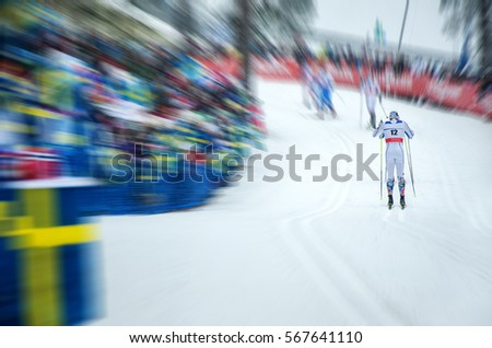 Nordic ski athlete during world cup race - Illustration picture for winter olympic game in pyeongchang 2018