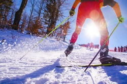 Nordic ski skier on the track in winter - sport active photo with space for your montage - Illustration picture for winter olympic game in pyeongchang 2018