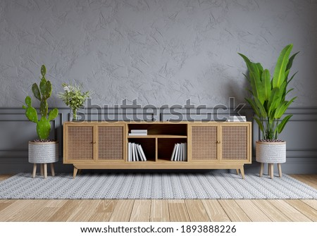 nordic style interior design ,TV cabinet and on gray wall with parque wood flooring  , 3d render