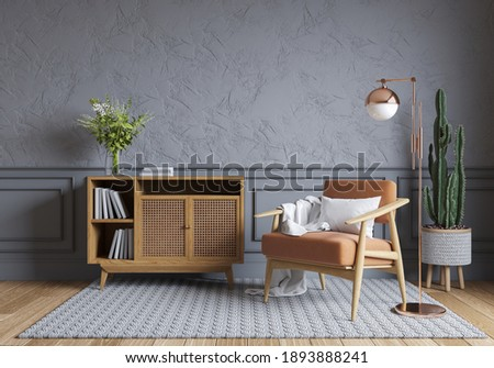 nordic style interior design ,Wood cabinet and wood chair on gray wall with parque wood flooring  , 3d render