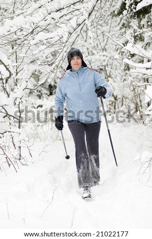 Nordic walking at winter time