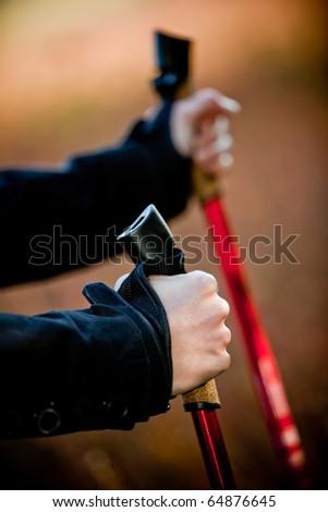 Nordic walking in autumn nature - hands - stock photo