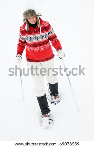 Nordic Walking  in deep snow