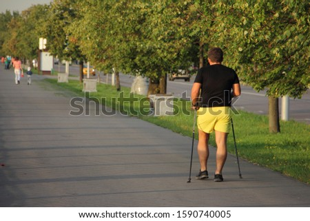Nordic walking, man in black t-shirt and yellow shorts with ski poles walks through the Park alley on a summer day, back view against a trees background