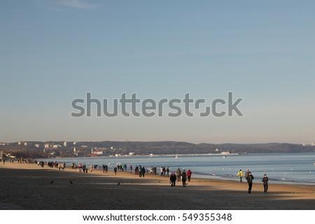 Nordic walking on the beach of Sopot, Poland Zdjęcia stock ©
