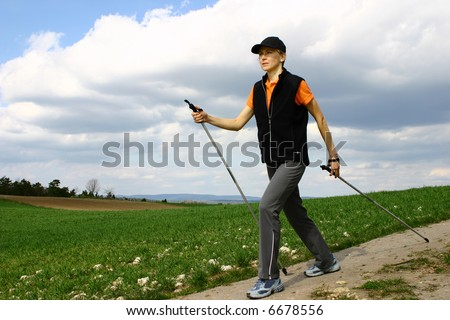 nordic walking tour in Bavaria / Germany - stock photo