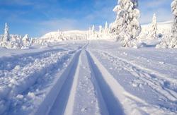 Norefjell / Norway: Dreamlike cross-country ski trail in January