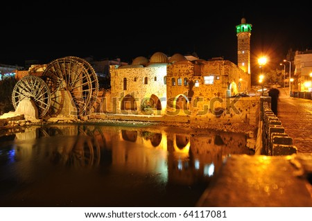 Norias in Hama during the night (Syria)