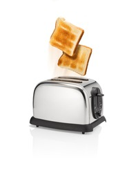 Normal roasted bread slices is flying out from toaster with motion blur.