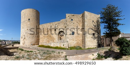 Norman castle of Salemi was built in 11th century by the order of Roger of Hauteville and currently is one of the best preserved castles in Sicily #498929650