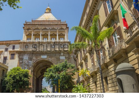 Norman Palace in Palermo Sicily, view of the historical gate joining the royal palace with the main street and other historic buildings