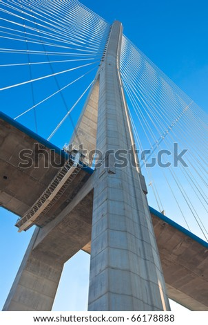 Normandy bridge Up view (Pont de Normandie, France). Vertical shot