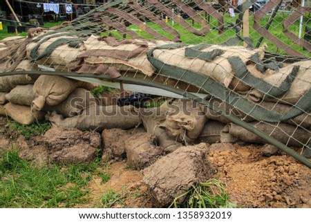 Normandy, France; 4 June 2014: Recreation of machine gun mouth